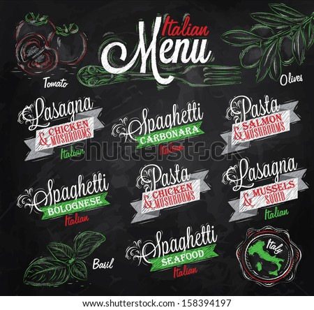 Menu Italian  the names of dishes of spaghetti, lasagna, pasta carbonara, bolognese and other ingredients tomato, basil, olive to design a menu stylized drawing with chalk of red, green colours - stock vector