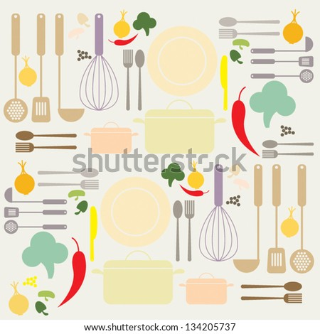 Menu Kitchen Utensils Set Vector - stock vector