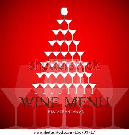 Menu or wine card with wine cups - illustration of template - stock vector