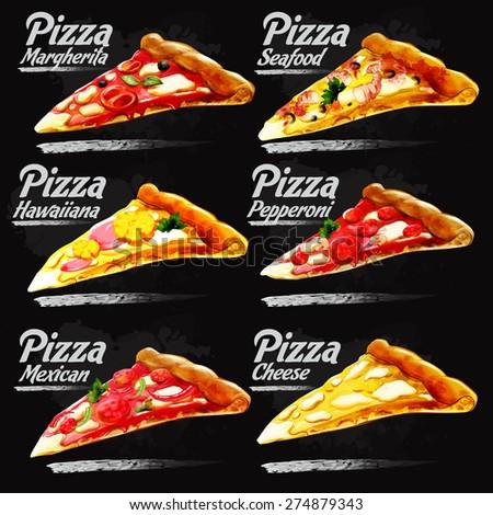 menu pizza vintage black - stock vector