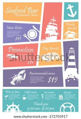 Menu Seafood restaurants Signs,Posters - stock vector