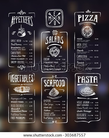 Menu template. White drawing on dark background. Appetizers, vegetables,salads, seafood, pizza, pasta. - stock vector