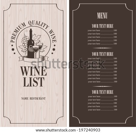 Menu with a bottle of wine, glasses and a bunch of grapes on the background of wooden boards - stock vector