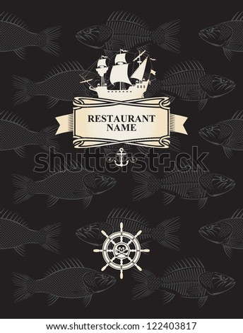 menu with a pirate sail and steering wheel on a background with the skeletons of fish - stock vector
