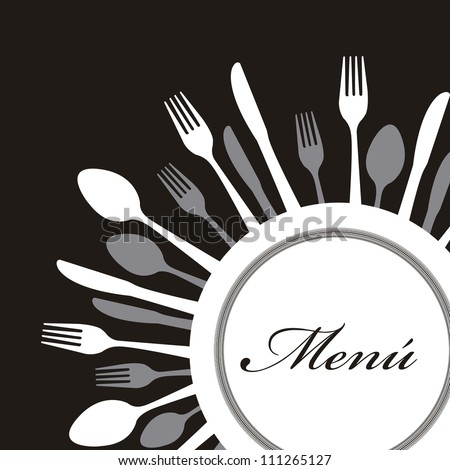 menu with cutlery over black background. vector illustration - stock vector