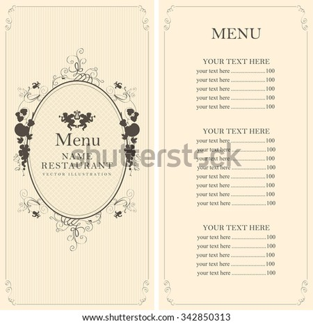 menu with floral ornaments with price list in the Baroque style - stock vector