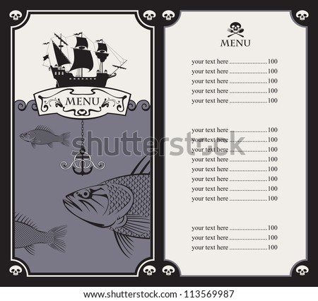 menu with sailboat and a fish in the ocean - stock vector