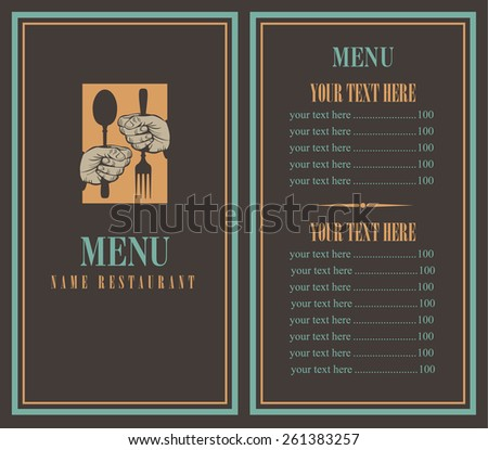 Menu with your hands and utensils - stock vector