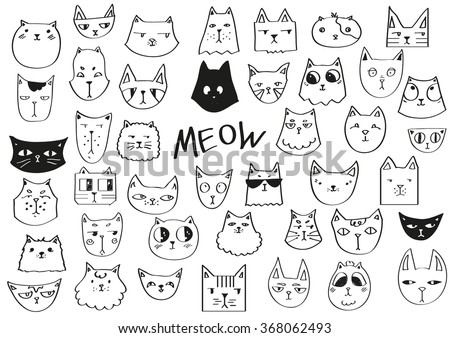 Meow poster. Hand drawn cats in black and white. - stock vector