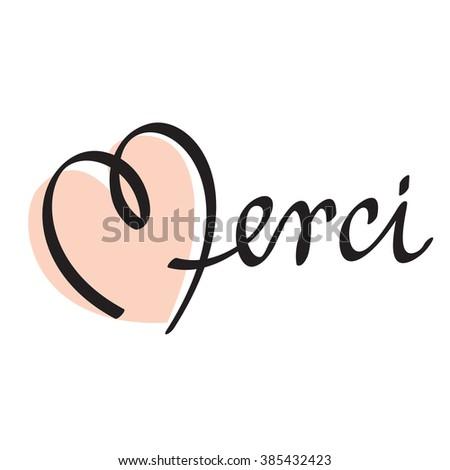 MERCI hand lettering -- custom handmade calligraphy, vector (eps10) - stock vector