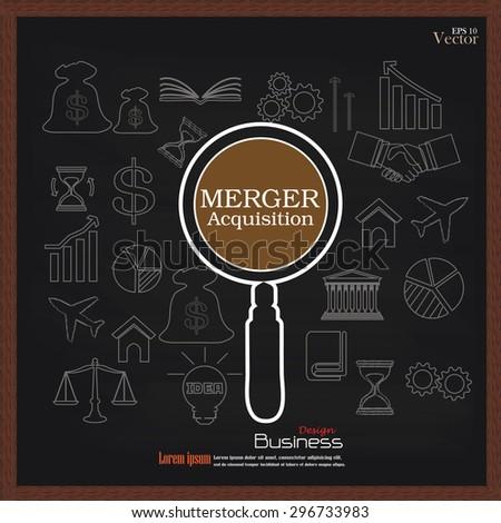 merger acquisition. merger acquisition with magnifier and business icon.vector illustration. - stock vector