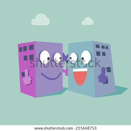 Merger two company. Flat vector illustration - stock vector