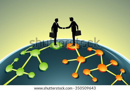 Merging Business Network-Business leaders in global agreement - stock vector