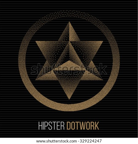 Merkaba or star of David. Mysticism Sacred Geometry Sign. Hipster Style Tattoo Design Element. Vector Dotwork Illustration. - stock vector