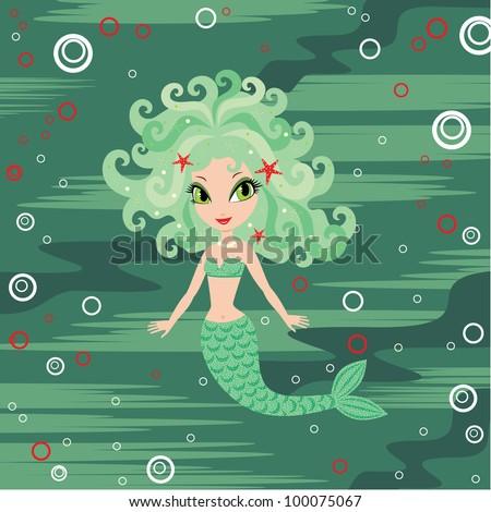 Mermaid cartoon. vector - stock vector