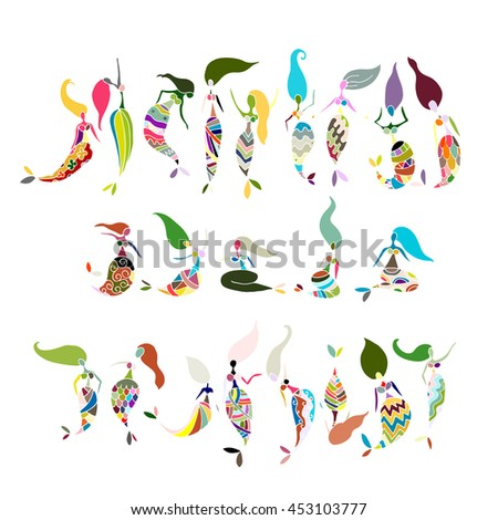 Mermaid collection, sketch for your design - stock vector