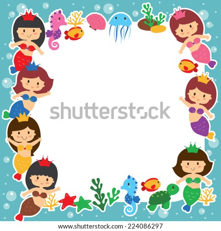 mermaid girls layout design - stock vector