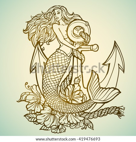 mermaid with anchor and flowers tattoo hand drawn illustration - stock vector