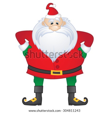 Merry Christmas! A quirky Santa standing with hands on hips. Vector illustration. - stock vector