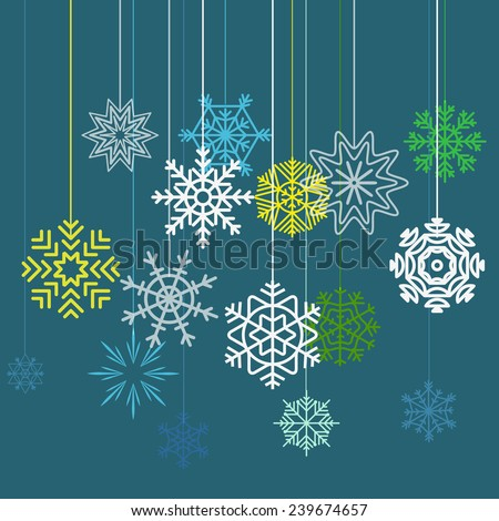 Merry Christmas and a happy New Year greeting card - stock vector