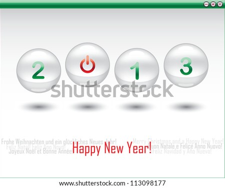 Merry Christmas and a Happy New Year! 2013. Poster in all languages. - stock vector