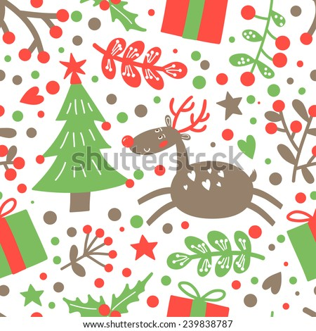 Merry Christmas and a happy New Year seamless pattern with holiday symbols. Vector background. - stock vector