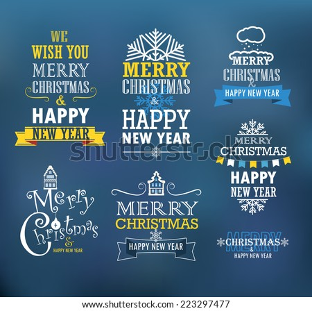 Merry Christmas and a happy New Year wishes. Design elements  - stock vector