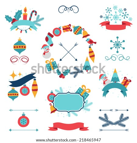 Merry Christmas and Happy New Year banners, decorations. - stock vector