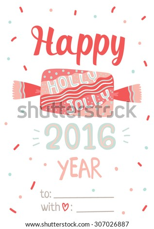 Merry Christmas and Happy New 2016 Year Calligraphic and Typographic Card with Candy lettering on White Background. Winter Decoration of Holidays Elements. Greeting hand drawn illustration for Xmas - stock vector