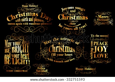 Merry Christmas and Happy New Year Card Calligraphic And Typographic Background gold Word Art On Blackboard   - stock vector