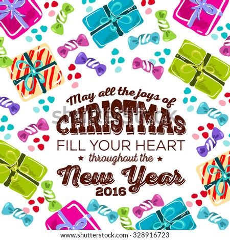 """Merry Christmas and Happy New Year Card """"May all the joys of Christmas fill your heart throughout the New Year"""" - stock vector"""