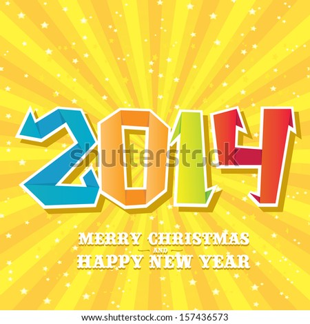 Merry Christmas and Happy New Year 2014 Card origami style. vector illustration - stock vector
