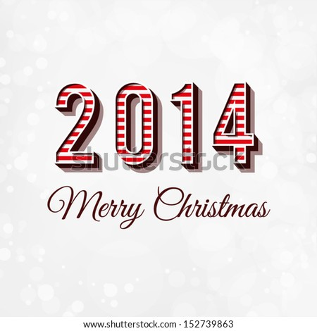 Merry Christmas and Happy New Year Card. 2014 - typography greeting design with 3d letters and bokeh background - stock vector
