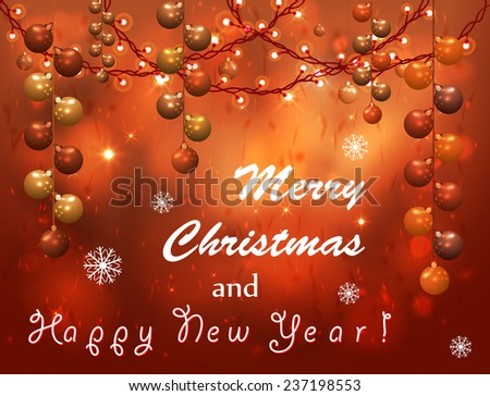 Merry Christmas and Happy New Year Card. Vector Illustration - stock vector
