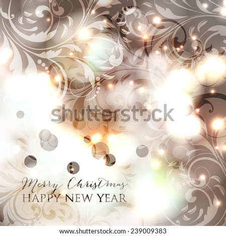 Merry Christmas and Happy New Year Card with a congratulatory text. - stock vector