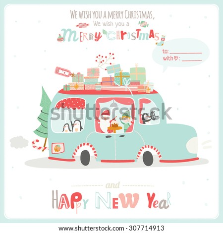Merry Christmas and Happy New 2016 Year Card with Calligraphic and Typographic Wish and Happy Smiling Elves, Penguins and Santa riding in a car with gifts for children on White Background - stock vector