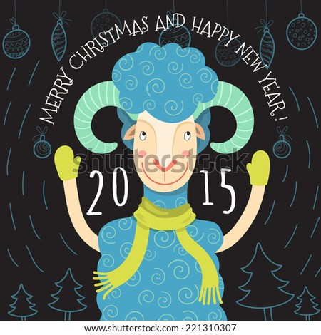 Merry Christmas and Happy New Year card with portrait of hipster ram. Vector illustration - stock vector