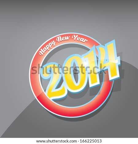 Merry Christmas and Happy New Year 2014 Card with text. vector illustration. - stock vector