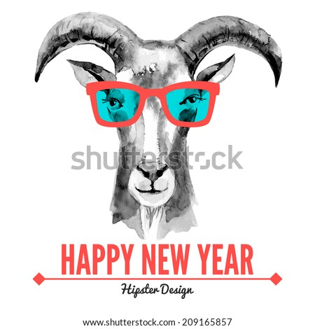 Merry Christmas and Happy New Year card with watercolor portrait of hipster goat. Hand drawn vector illustration - stock vector