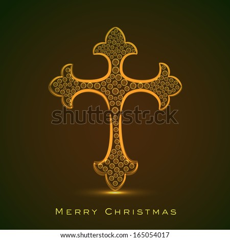 Merry Christmas and Happy New Year 2014 celebration concept with golden Christian Cross on brown background.  - stock vector