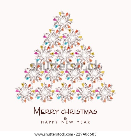 Merry Christmas and Happy New Year celebration with floral decorated X-mas tree, can be used as poster or greeting design. - stock vector