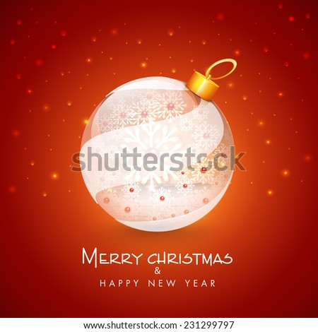 Merry Christmas and Happy New Year celebration with floral design decorated beautiful X-mas ball on shiny red background. - stock vector