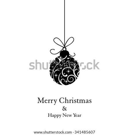 Merry Christmas and Happy New Year _ Christmas card with christmas ball - stock vector