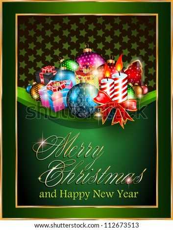 Merry Christmas and Happy New Year Elegant Suggestive Background for Greetings Card. - stock vector