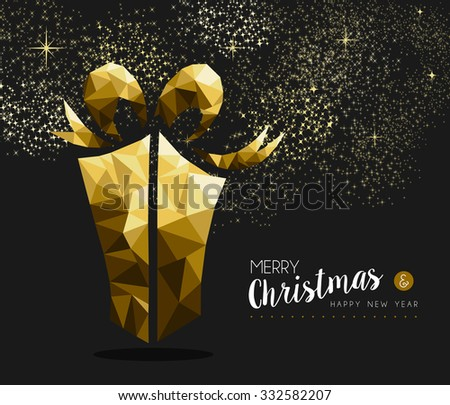 Merry christmas and happy new year fancy gold gift box in hipster triangle low poly style. Ideal for xmas greeting card or elegant holiday party invitation. EPS10 vector. - stock vector