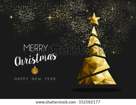 Merry christmas and happy new year fancy gold xmas tree in hipster low poly triangle style. Ideal for greeting card or elegant holiday party invitation. EPS10 vector.    - stock vector