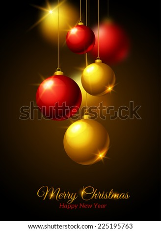 Merry Christmas and Happy New Year Greeting card. Gold and red shining baubles. Vector illustration. Classic Christmas Design. - stock vector