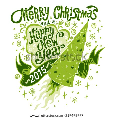 Merry Christmas and Happy New Year 2015 Greeting card, isolated vector illustration, poster, postcard or background - stock vector