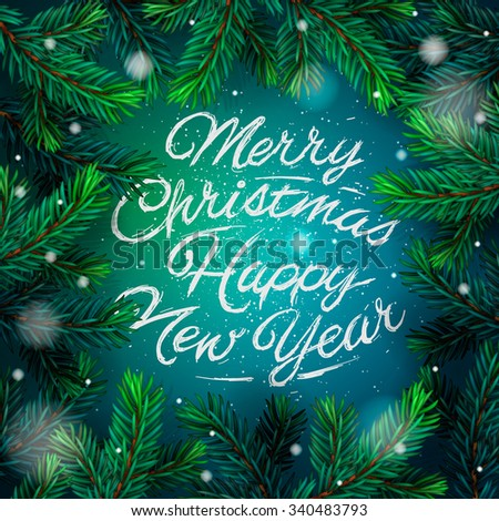 Merry Christmas and Happy New Year 2016 greeting card, vector illustration. - stock vector