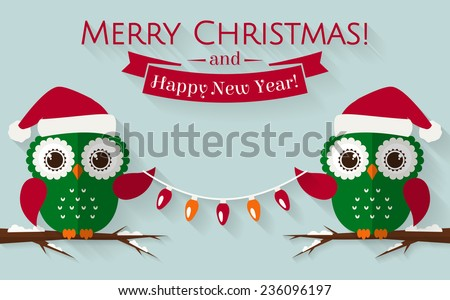 Merry Christmas and Happy New Year! Greeting card with cute owls in Santa hats. Vector illustration. - stock vector
